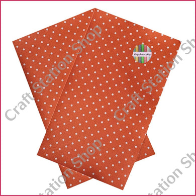 Dots - Orange/white Faux Leather Single Sheet