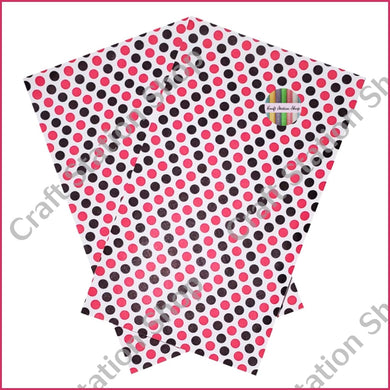 Dots White / Black & Fuchsia Faux Leather Single Sheet