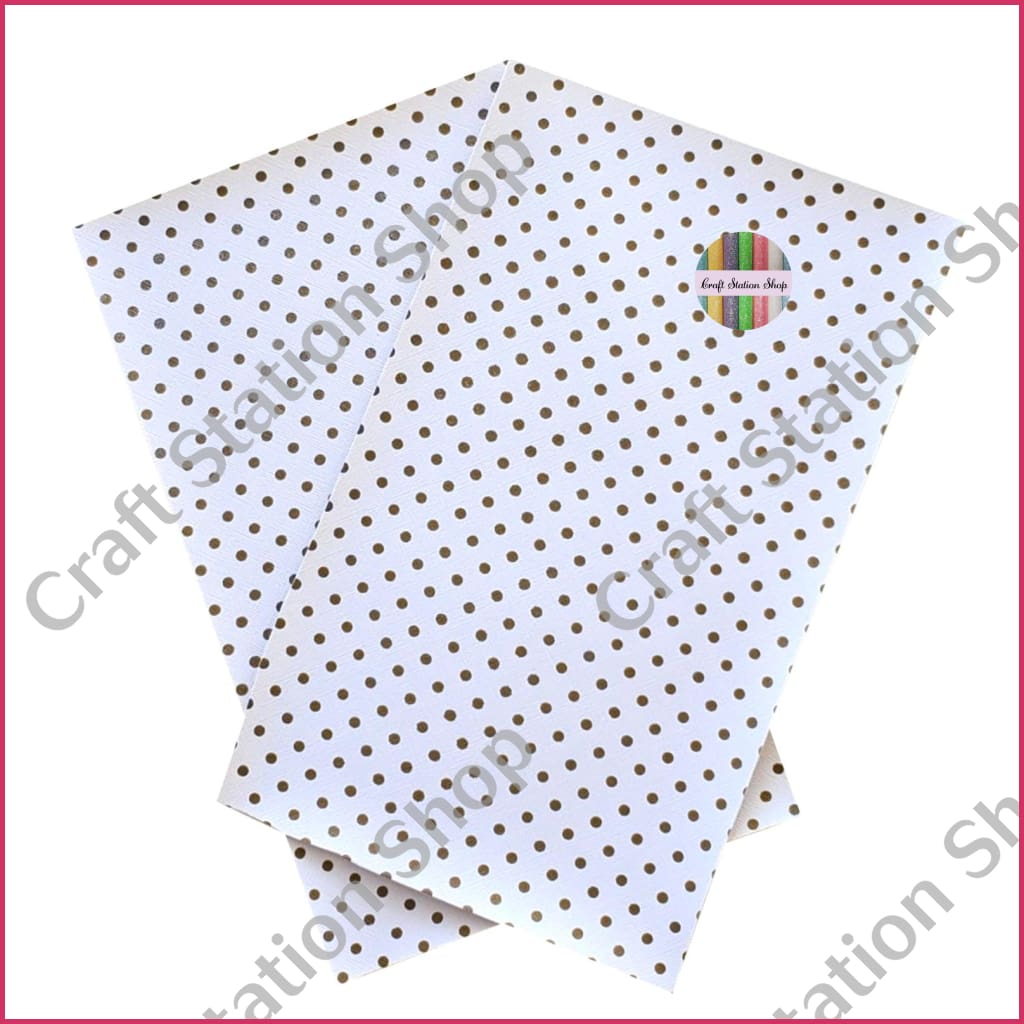 Dots - White/gold Faux Leather Single Sheet