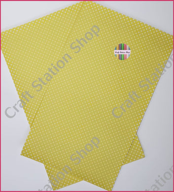 Dots Yellow/White Faux Leather Single Sheet - Craft Station Shop