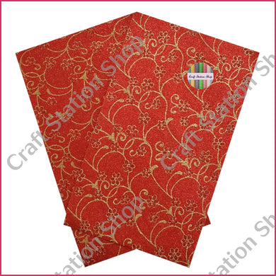 Fine Glitter / Red & Gold Flower- Faux Leather