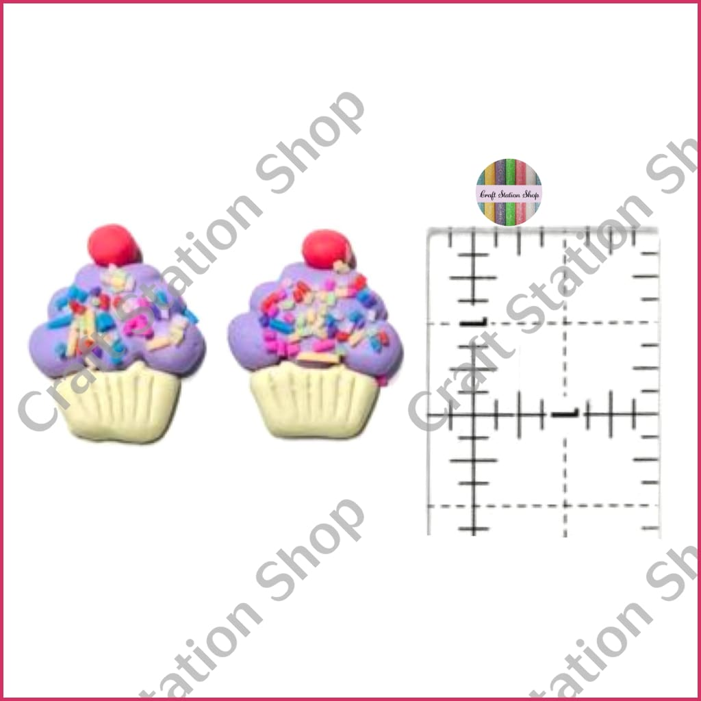 Flat Back 39 Lavender Cupcake / Pastelito Lila - Craft Station Shop