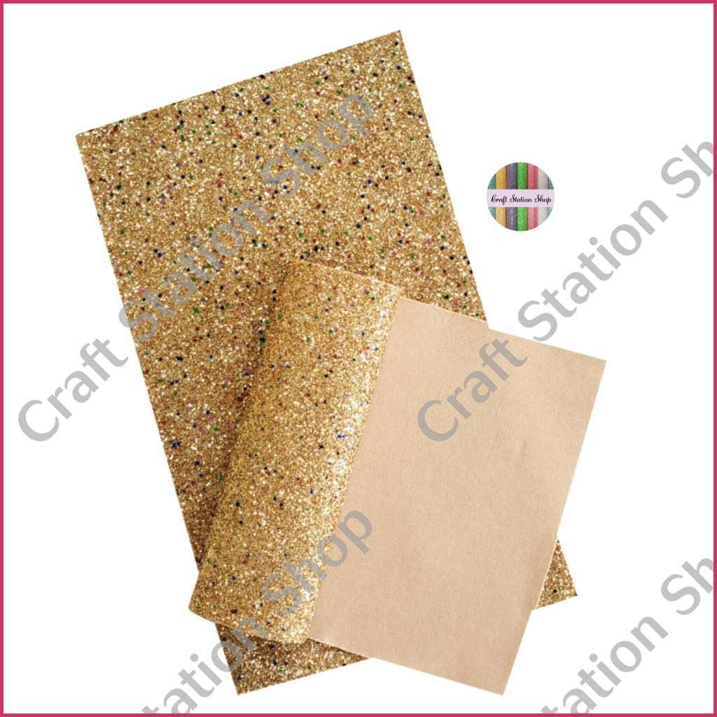 Soft Glitter Star 03 Gold Faux Leather