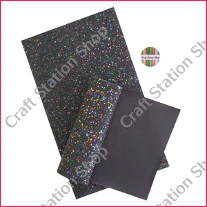 Soft Glitter Star 07 Black / Negro Faux Leather