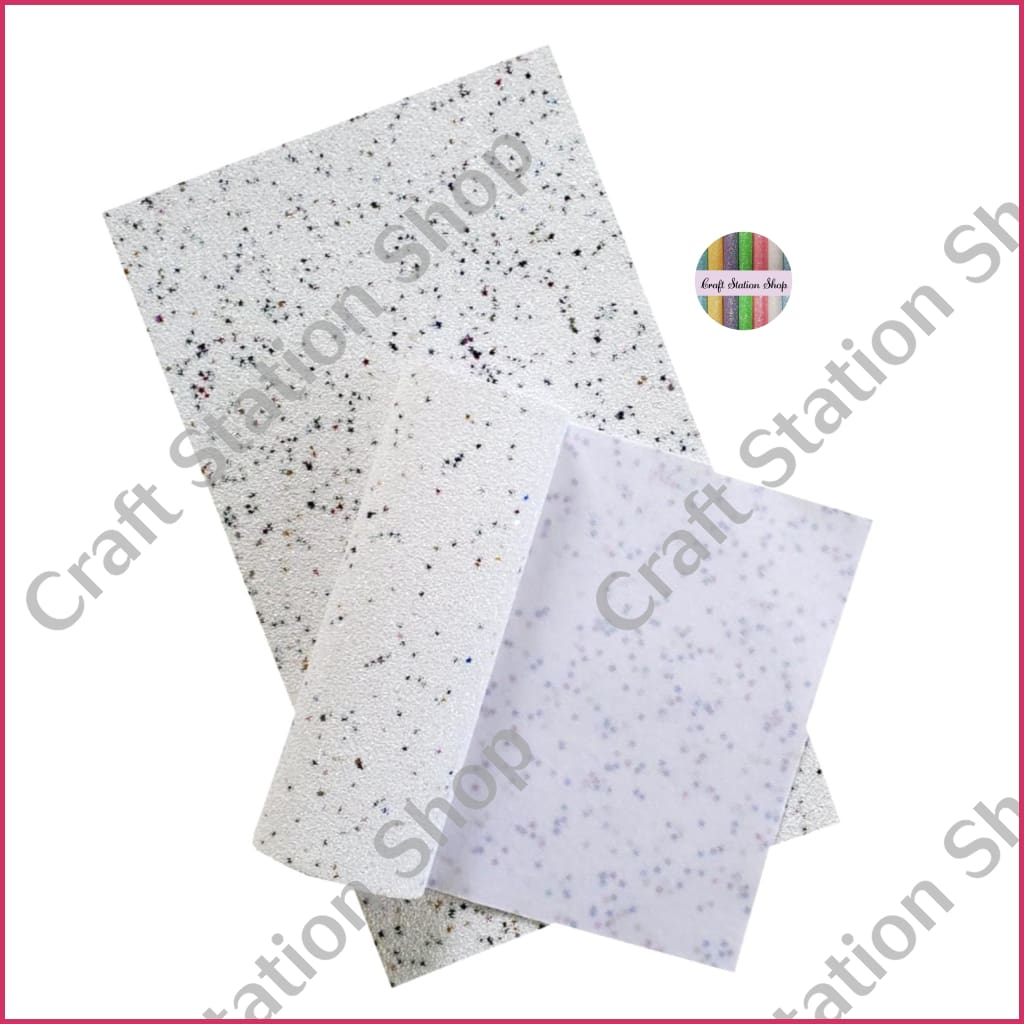 Soft Glitter Star 08 White / Blanco Faux Leather