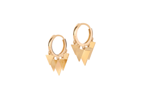 Gold Triangles Hoop Earrings