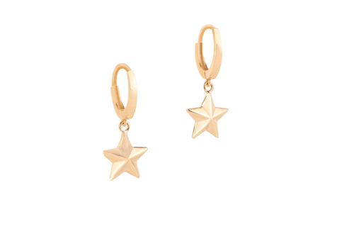 Embossed Star Hoop Earrings