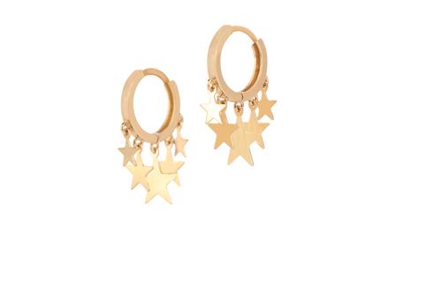 Hanging Stars - Hoop Earrings