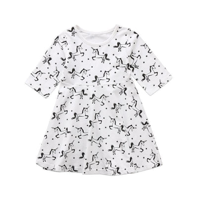 Dress - Black And White Unicorn Dress