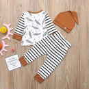 Set - Three Item Set Long Sleeve Feather Pattern Shirt With Striped Pants And Beanie