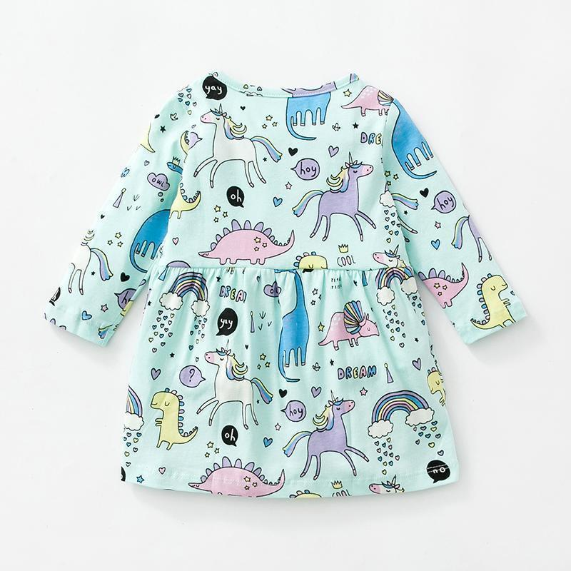 Dress - Unicorn Dino Party Long Sleeve Dress