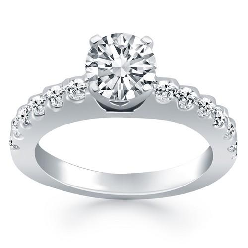 14k White Gold Diamond Micro Prong Cathedral Engagement Ring, size 7.5