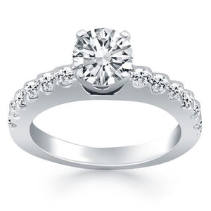 14k White Gold Diamond Micro Prong Cathedral Engagement Ring, size 7