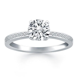 14k White Gold Engagement Ring with Diamond Channel Set Band, size 7