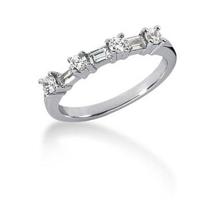 14k White Gold Seven Diamond Wedding Ring Band with Round and Baguette Diamonds, size 6.5
