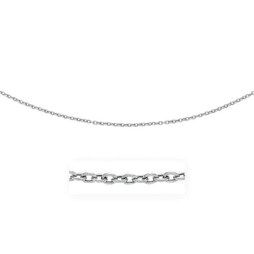 3.5mm 14k White Gold Pendant Chain with Textured Links, size 16''