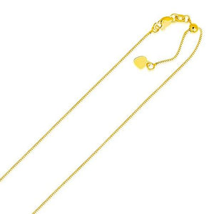 14k Yellow Gold Adjustable Box Chain 0.7mm, size 22''