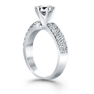 14k White Gold Triple Row Pave Diamond Engagement Ring, size 5