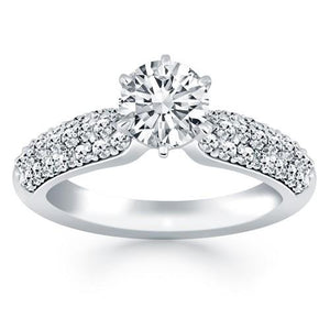 14k White Gold Triple Row Pave Diamond Engagement Ring, size 6.5