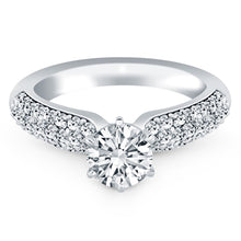 14k White Gold Triple Row Pave Diamond Engagement Ring, size 7.5