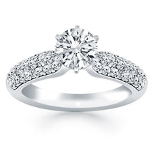 14k White Gold Triple Row Pave Diamond Engagement Ring, size 8