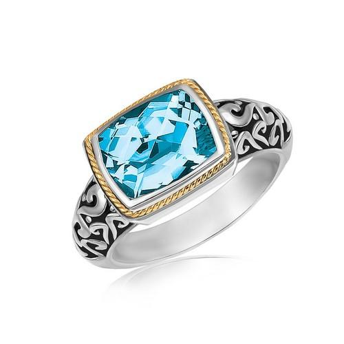 18k Yellow Gold and Sterling Silver Rectangular Blue Topaz Milgrained Ring, size 8