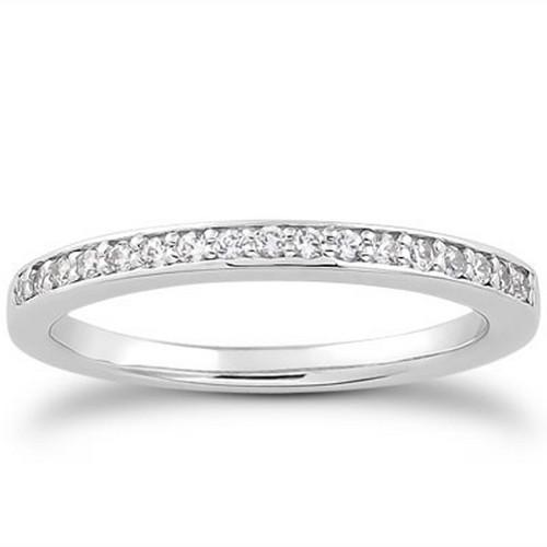 14k White Gold Micro-pave Flat Sided Diamond Wedding Ring Band, size 8