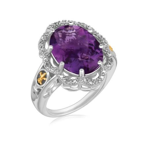 18k Yellow Gold and Sterling Silver Fleur De Lis Ring Amethyst and Diamonds, size 8