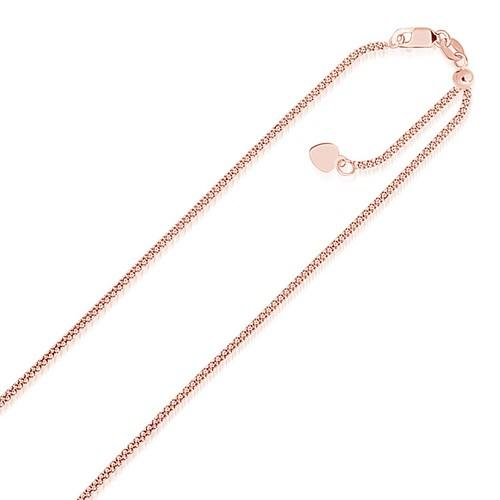 14k Rose Gold Adjustable Popcorn Chain 1.3mm, size 22''