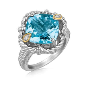 18k Yellow Gold and Sterling Silver Ring with Cushion Blue Topaz and Diamonds, size 9