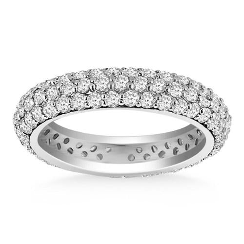 14k White Gold Cupola Round Diamond Eternity Ring in 14k White Gold, size 6