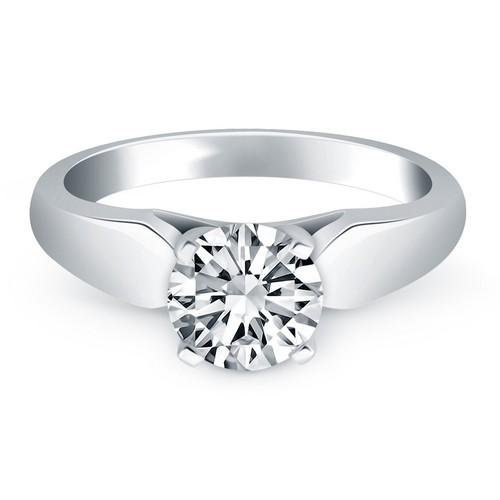 14k White Gold Tapered Cathedral Solitaire Engagement Ring, size 8