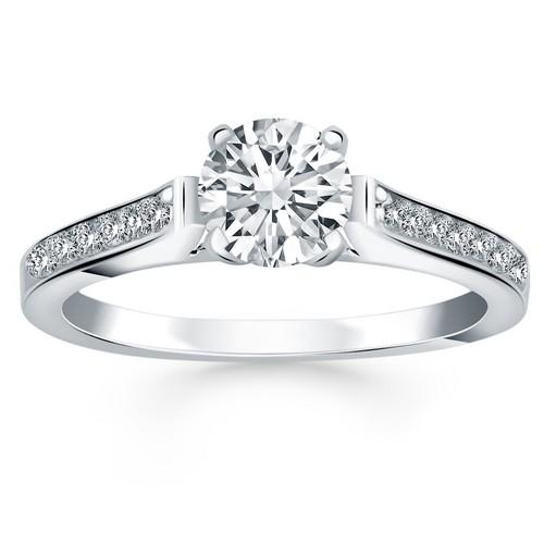 14k White Gold Pave Diamond Cathedral Engagement Ring, size 4.5