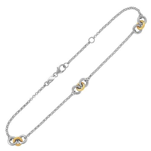 14k Yellow Gold and Sterling Silver Triple Ring Stationed Anklet, size 10''