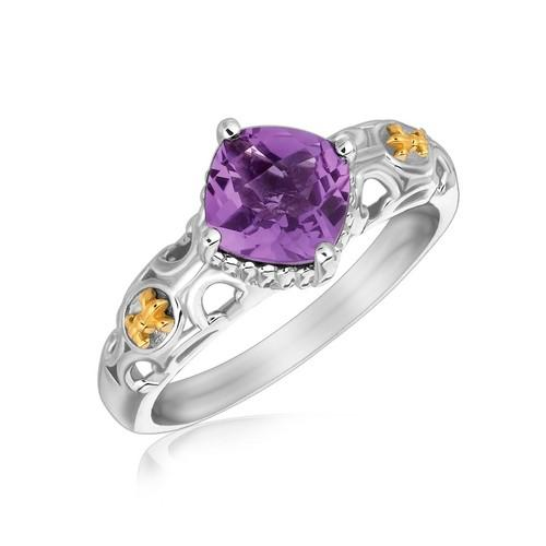18k Yellow Gold and Sterling Silver Ring with Amethyst and Fleur De Lis Motifs, size 6