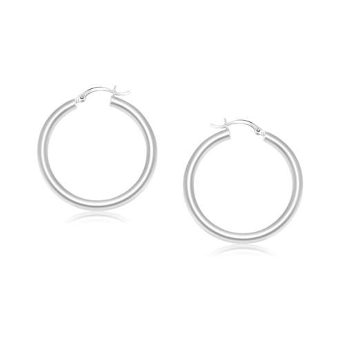 14k White Gold Polished Hoop Earrings (25 mm)