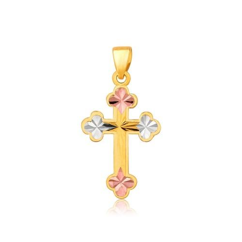 14k Tri Color Gold Cross Pendant