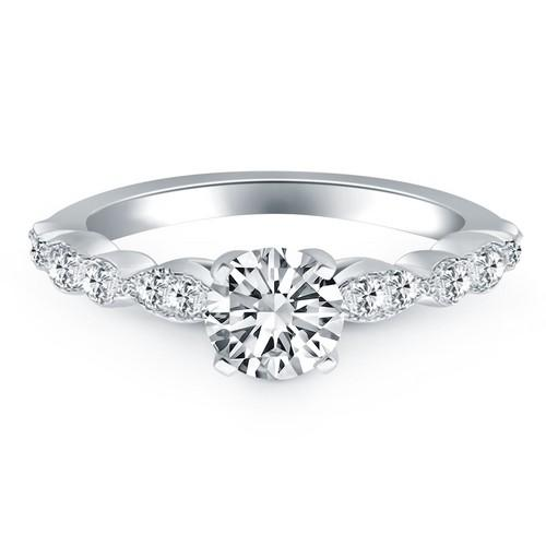 14k White Gold Fancy Shaped Diamond Engagement Ring, size 6.5