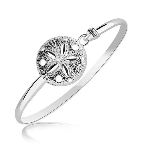 Sterling Silver Sand Dollar Motif Thin Bangle with Rhodium Plating, size 7''