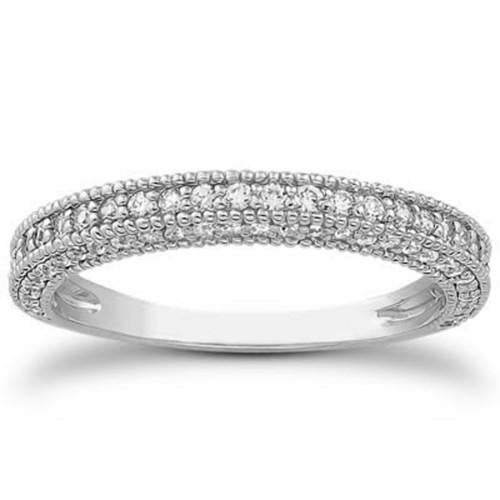 14k White Gold Fancy Pave Diamond Milgrain Textured Wedding Ring Band, size 6.5