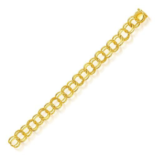 14k Yellow Gold Solid Double Link Charm Bracelet 10.0mm, size 7''