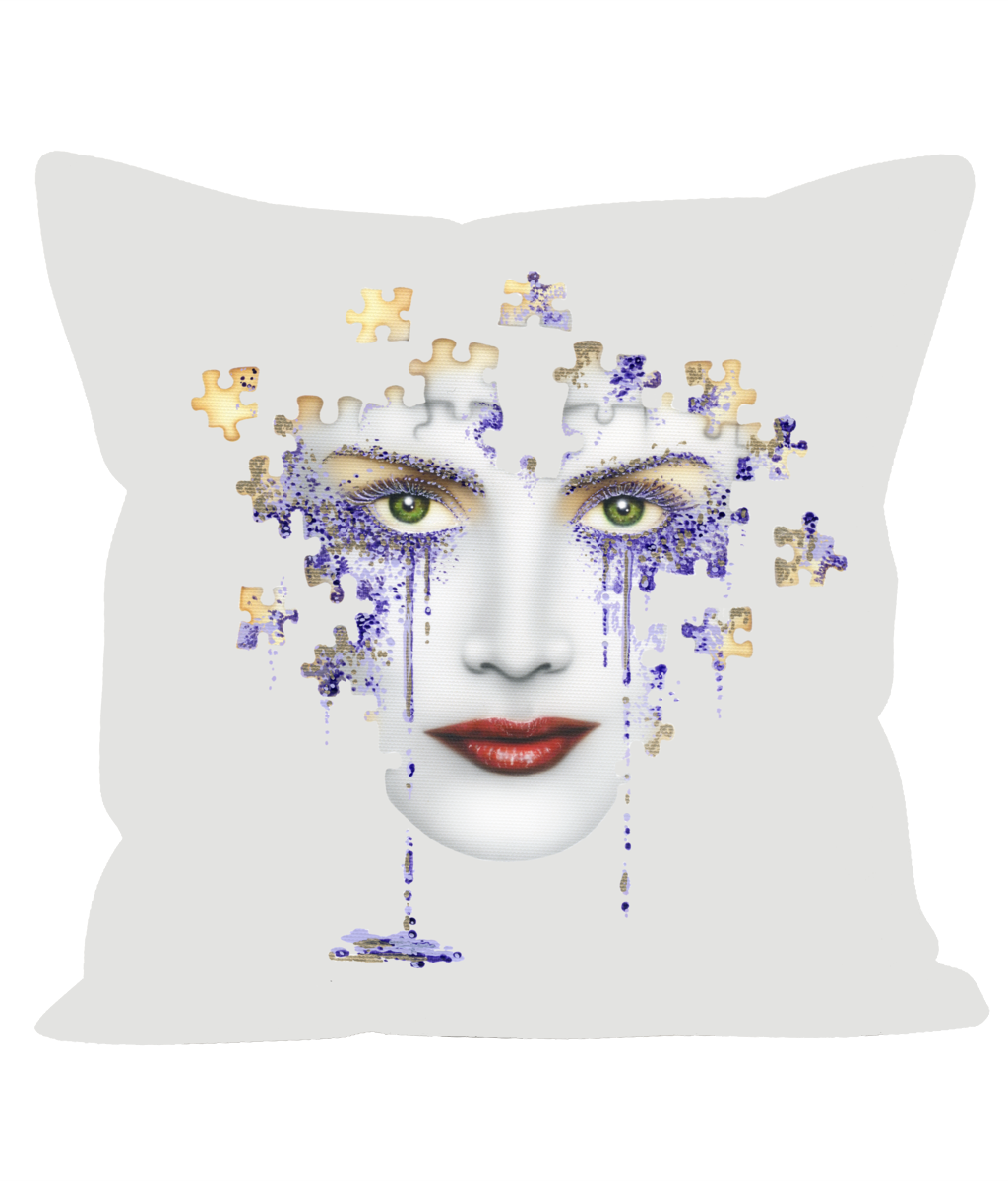 Puzzled Lilac Tears - Sofa Cushion