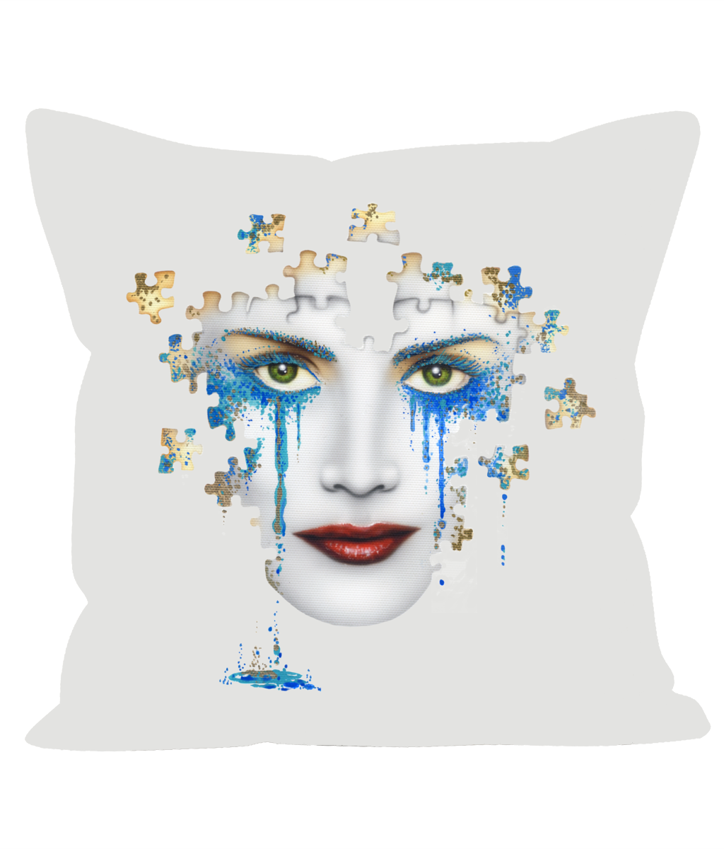 Puzzled Blue Tears - Sofa Cushion