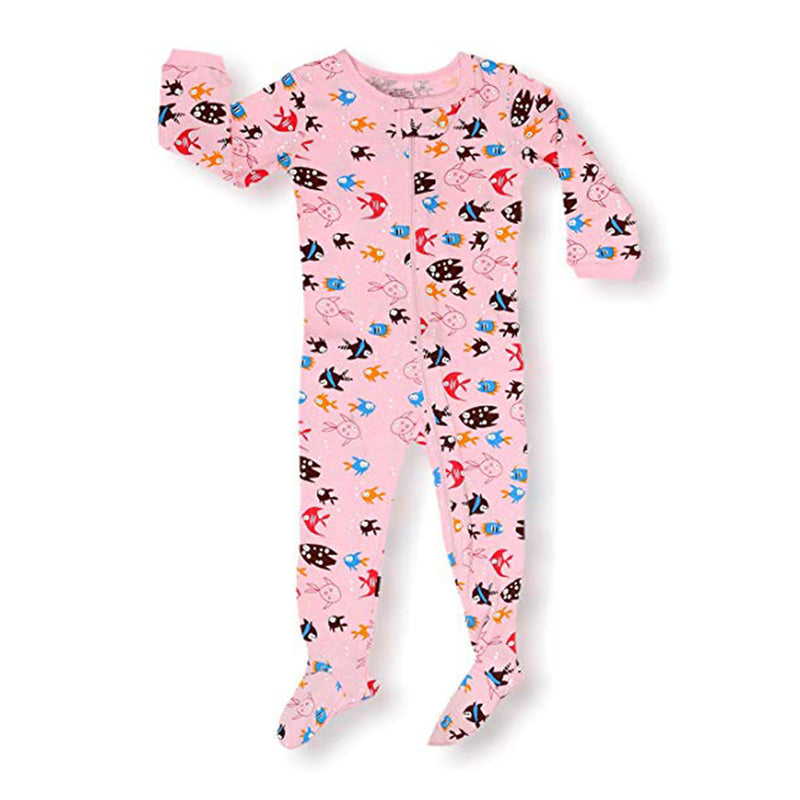Fish Girl's Footed Onesies Cotton Pyjama