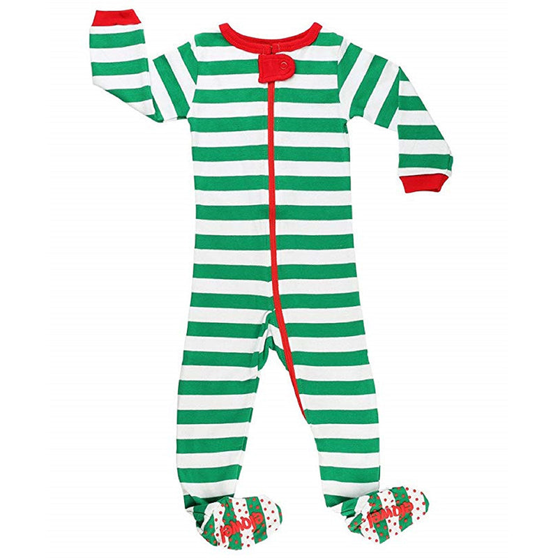 Christmas Striped Unisex Green And White Footed Onesies Cotton Pyjama