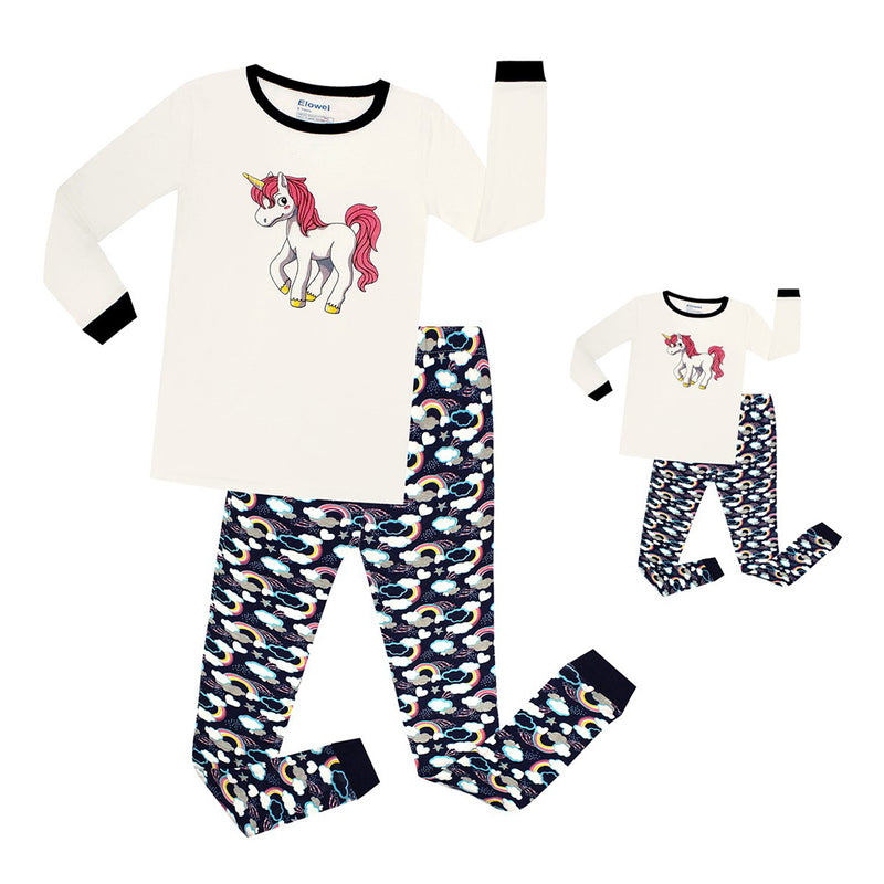 Unicorn Matching Girl & Doll 2 Piece Pyjamas Set Cotton
