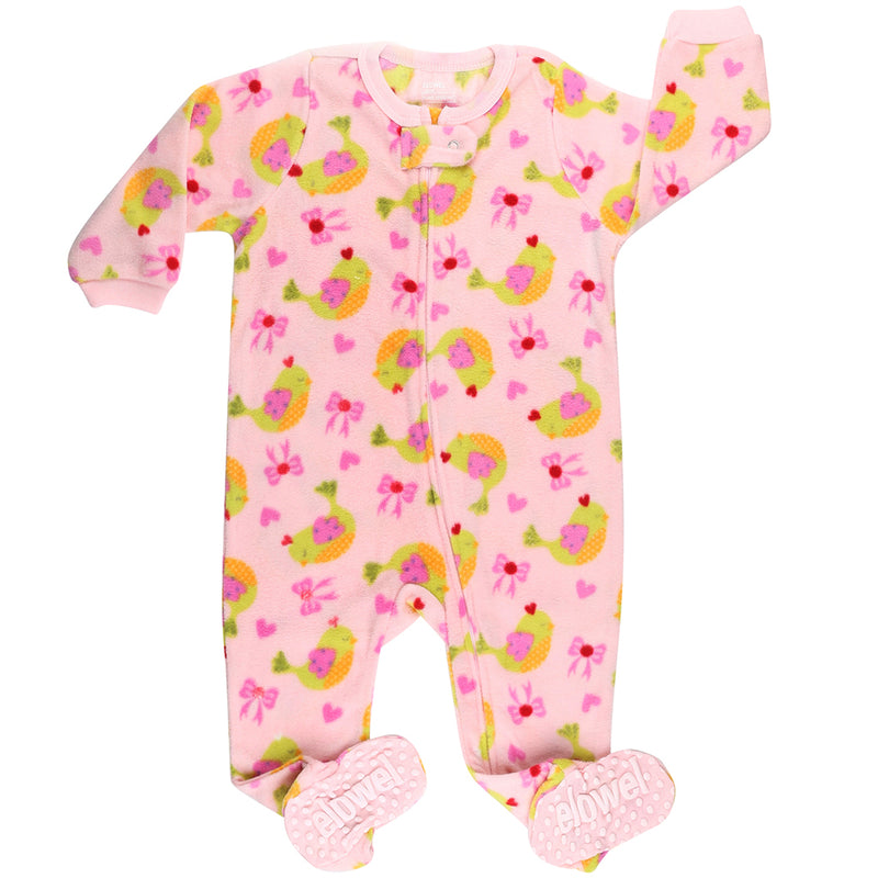 Birds Girl's Footed Onesies Fleece Pyjama