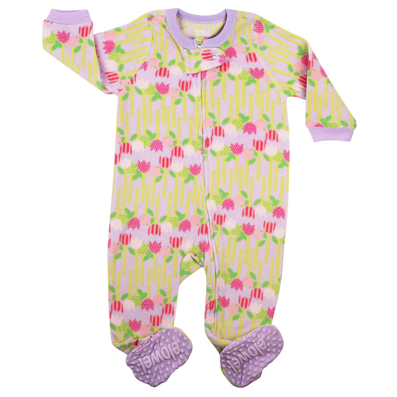 Flowers Girl's Footed Onesies Fleece Pyjama