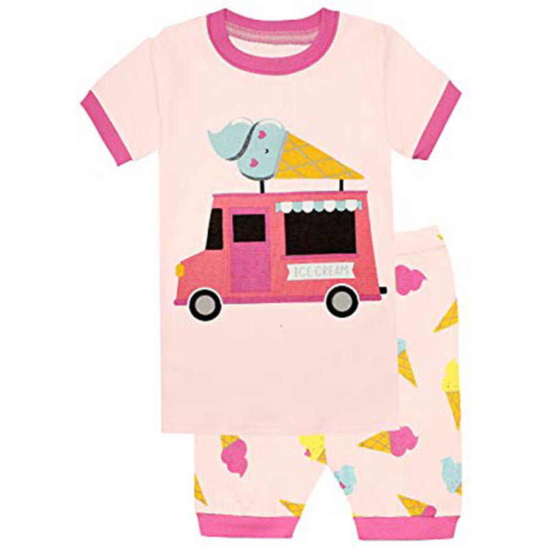 Ice Cream Girls Shorts 2 Piece Pyjamas Set Cotton