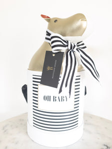Black & White Striped OH BABY! Label Size Small Colour White